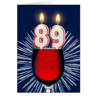 89th Birthday with wine and candles Card