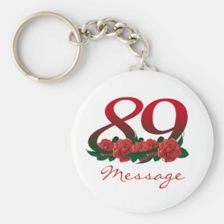 89th custom text name number birthday floral keychain