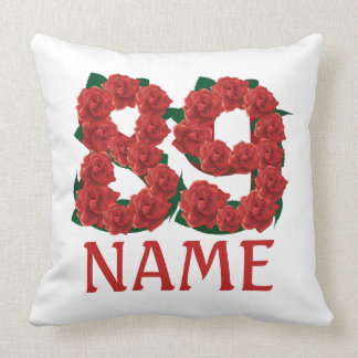89th custom text name number birthday floral throw pillow