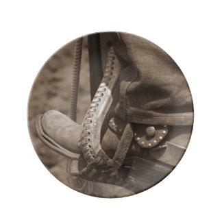 """8.5"""" Decorative Cowboy Gear Porcelain Plate"""