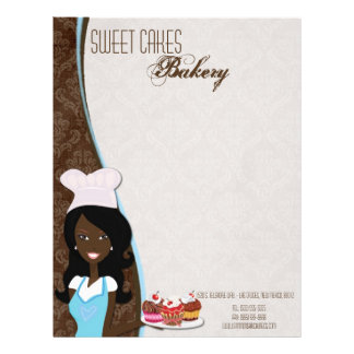 8.5x11 African American Baker Cup Cake Letter Head Customized Letterhead