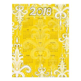 """8.5x11"""" calendar sheets 2018 calendar honey damask"""