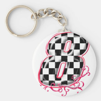 8 auto racing number basic round button keychain