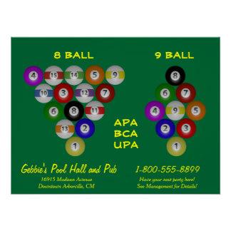 8 Ball 9 Ball Rack Billiard Room Perfect Poster