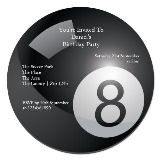 8 Ball Billiards Party Card