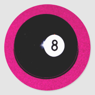 8 Ball on Pink Classic Round Sticker