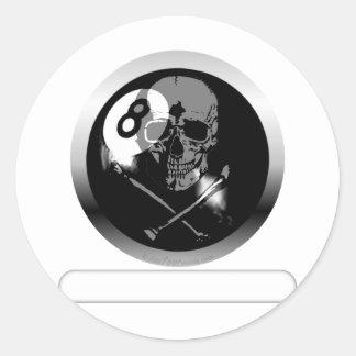8 Ball Skull and Crossbones Classic Round Sticker