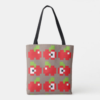 8-bit Apples Gray 2-in-1 Tote