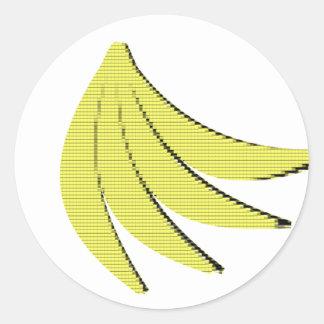8 Bit Bananas Round Sticker