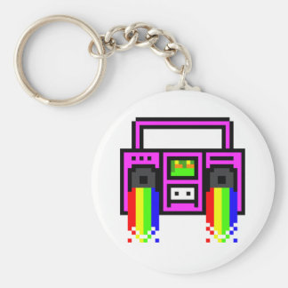 8 Bit Boom Box Basic Round Button Keychain