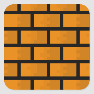 8 Bit Brick Wall Square Sticker