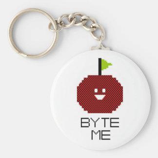 8-Bit Byte Me Cute Apple Pixel Art Basic Round Button Keychain