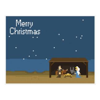 8-Bit Christmas Nativity Scene Postcard