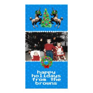 """8-Bit Christmas"" Photo Greeting Card (Blue)"