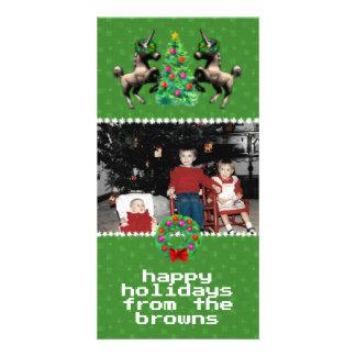 """8-Bit Christmas"" Photo Greeting Card (Green)"