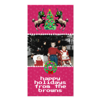 """8-Bit Christmas"" Photo Greeting Card (Pink)"