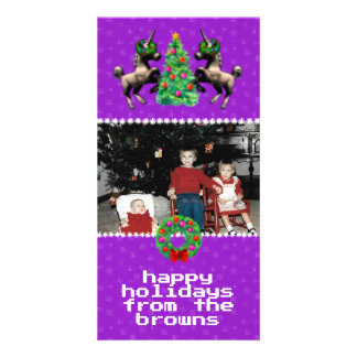 """8-Bit Christmas"" Photo Greeting Card (Purple)"