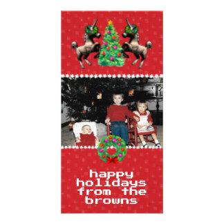 """8-Bit Christmas"" Photo Greeting Card (Red)"