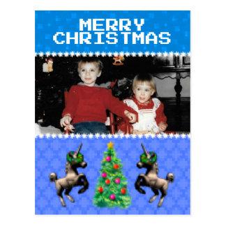 """8-Bit Christmas"" Photo Holiday Postcard (Blue)"