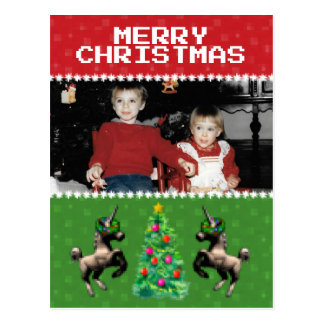 """8-Bit Christmas"" Photo Holiday Postcard (Red-Grn)"