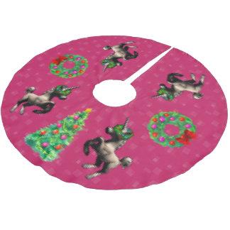 """8-Bit Christmas"" Tree Skirt (Dark Pink) Brushed Polyester Tree Skirt"