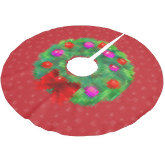 """8-Bit Christmas Wreath"" Tree Skirt (Red)"