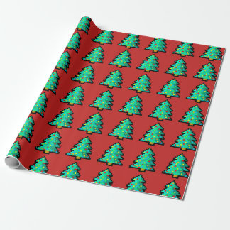 8 bit Green Christmas tree with red background Wrapping Paper