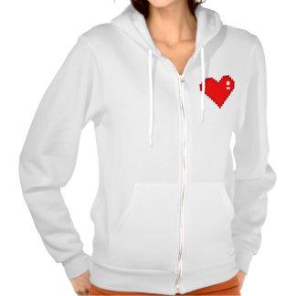 8 Bit Heart Hoodies
