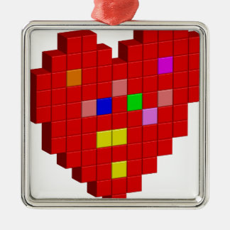 8-Bit Heart Metal Ornament