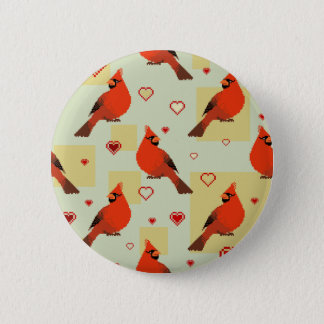 8-bit Hearts and Cardinals Pattern 2 Inch Round Button