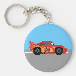 8-Bit Lightning McQueen Basic Round Button Keychain