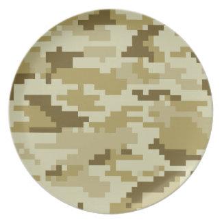 8 Bit Pixel Desert Camouflage Party Plates