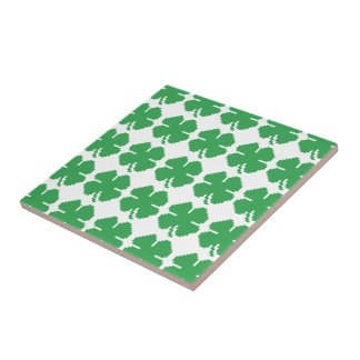 8 Bit Pixel Lucky Four Leaf Clover Ceramic Tile