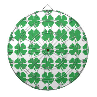 8 Bit Pixel Lucky Four Leaf Clover Dartboard With Darts