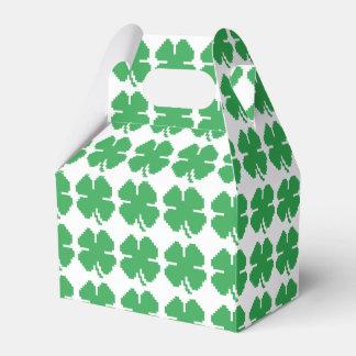 8 Bit Pixel Lucky Four Leaf Clover Party Favor Box