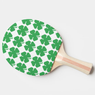 8 Bit Pixel Lucky Four Leaf Clover Ping-Pong Paddle