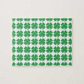 8 Bit Pixel Lucky Four Leaf Clover Puzzle