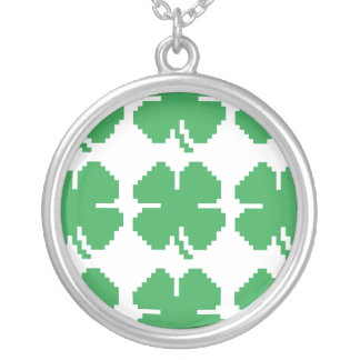 8 Bit Pixel Lucky Four Leaf Clover Silver Plated Necklace