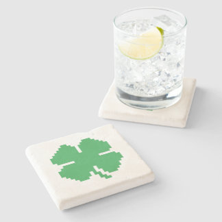 8 Bit Pixel Lucky Four Leaf Clover Stone Coaster
