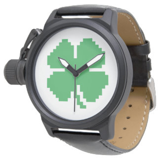 8 Bit Pixel Lucky Four Leaf Clover Watches