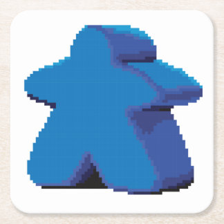 8-bit Pixel Meeple Set of 6 Square Coasters