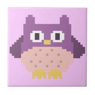 8-bit Pixel Owl Sprite Ceramic Tile