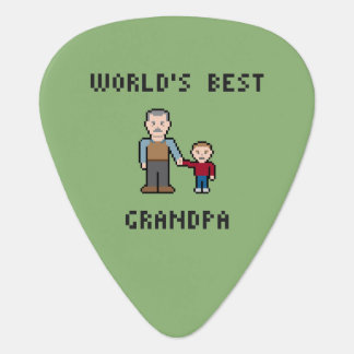 8 Bit Pixel World's Best Grandpa Guitar Pick