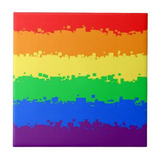 8 Bit Pride Flag Ceramic Tile