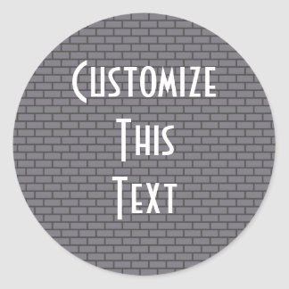 8-Bit Retro Brick, Grey Round Sticker