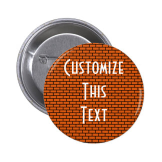 8-Bit Retro Brick Orange Pinback Buttons