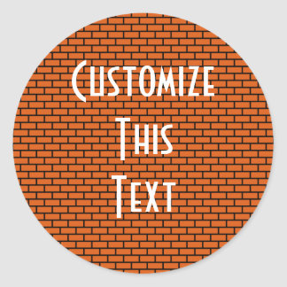 8-Bit Retro Brick, Orange Round Sticker