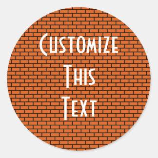 8-Bit Retro Brick, Orange Round Stickers