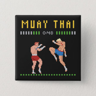 8-Bit Thai Boxing 2 Inch Square Button