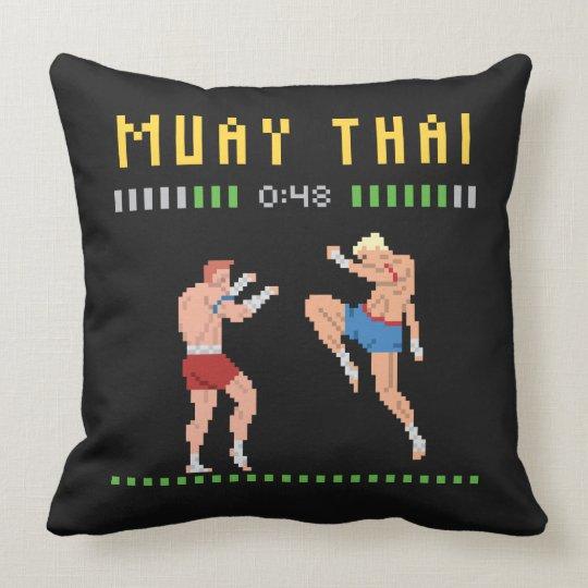 8-Bit Thai Boxing Throw Pillow